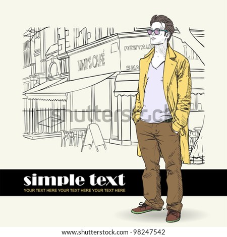 Vector illustration of the stylish guy in a coat on a street-cafe- background. - stock vector