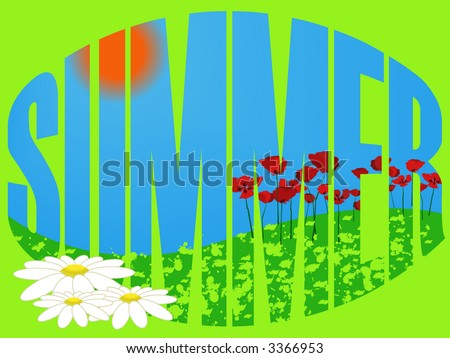 vector illustration of the summer meadow with chamomiles and poppies - stock vector