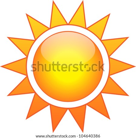 Vector illustration of the sun isolated on white background - stock vector