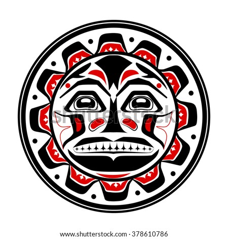 Vector illustration of the sun symbol. Modern stylization of North American and Canadian native art in black red and white - stock vector