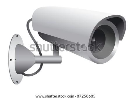 vector illustration of the surveillance camera - stock vector