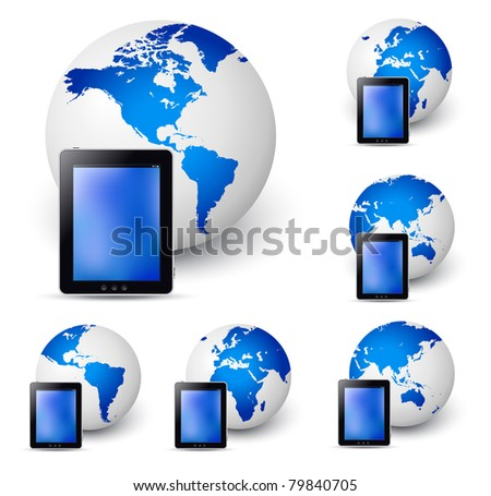 Vector illustration of the tablet with globe (all continents) - stock vector