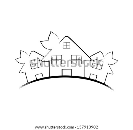 Vector illustration of the three houses isolated on white background. Real estate icon - stock vector