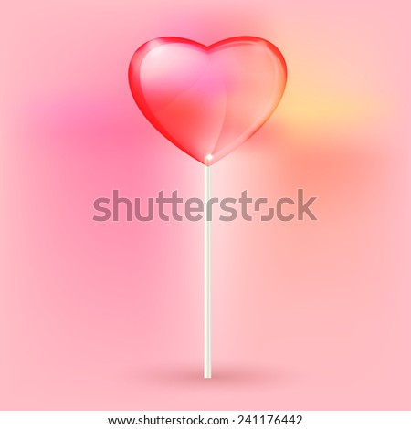 Vector illustration of the transparent heart lollypops on the pink background - stock vector