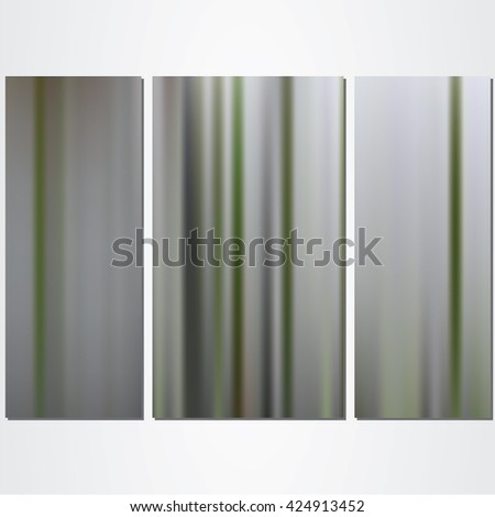 Vector illustration of the triptych. Template of the three panels. Mesh gradient on the background. Vertical strips in green and gray colors.