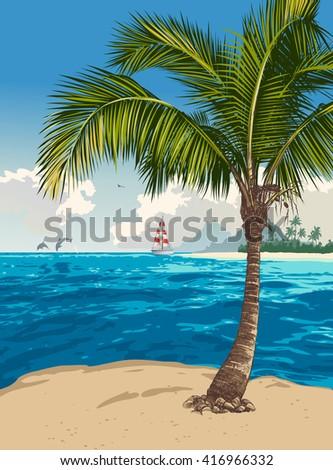 Vector illustration of the tropical beach - stock vector