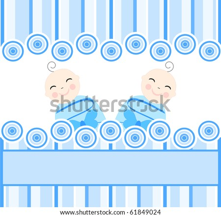vector illustration of the twins boys on striped blue background. - stock vector