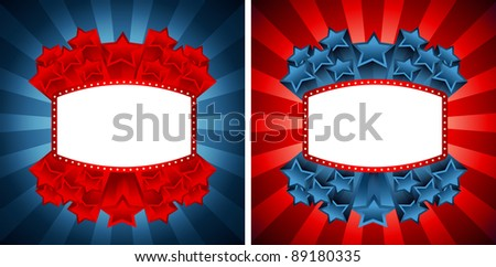 Vector illustration of the two banners with stars - stock vector