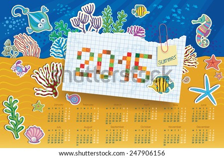 Vector illustration of the underwater world. Calendar for the background of the sea floor.  Marine life.  - stock vector