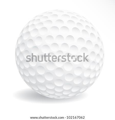 vector illustration of the white golf ball - stock vector