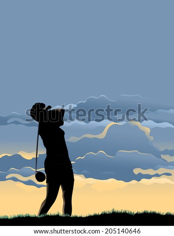 Vector illustration of the woman golfer teeing off at sunset. - stock vector