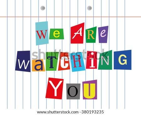 Vector Illustration Words We Watching You Stock Vector