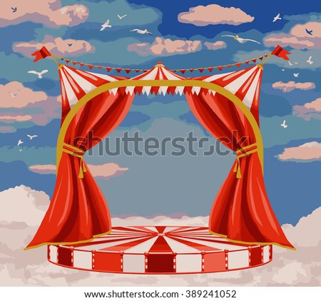 Vector illustration of  theater stage in blue sky  - stock vector