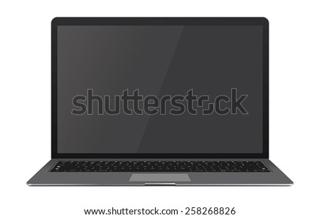 Vector illustration of thin black Laptop with blank screen isolated on white background, white aluminium body.