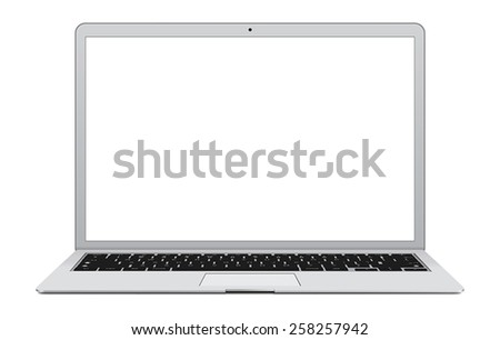 Vector illustration of thin Laptop with blank screen isolated on white background, white aluminium body.