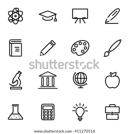 Vector illustration of thin line icons - education