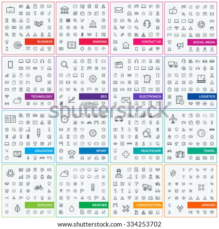 Vector illustration of thin line icons for business, banking, contact, social media, technology, seo, logistic, education, sport, medicine, travel, weather, construction, arrow. Linear symbols set. - stock vector