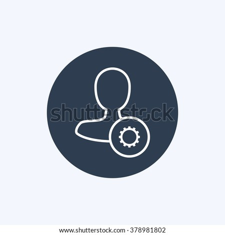Vector illustration of thin line male user settings icon. Could be used as menu button, user interface element template, badge, sign, symbol, company logo