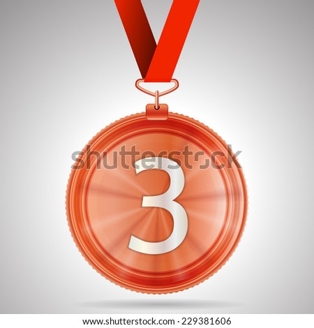 Vector illustration of third place medal. Shiny bronze third place medal with red ribbon and number 3. Isolated vector illustration on gray background. - stock vector