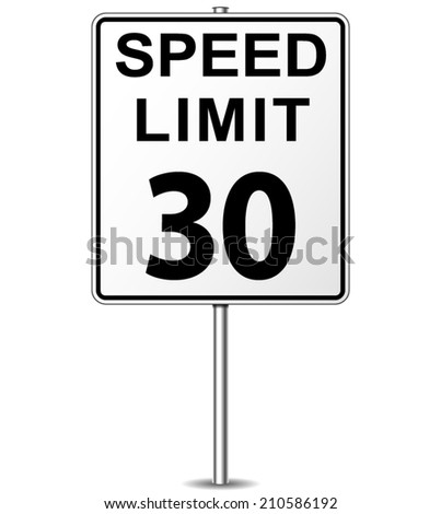 Vector illustration of thirty speed limit signpost - stock vector