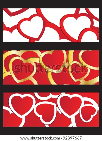 Vector illustration of three  banners with valentines multicolored hearts