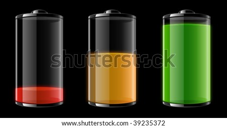 Vector illustration of three batteries showing different stages: Empty, half-full and full. - stock vector
