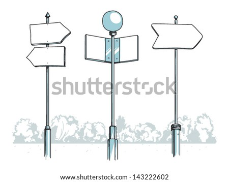 Vector illustration of three blank signposts standing somewhere in a park - stock vector