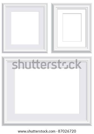 vector illustration of three blank white frames - stock vector