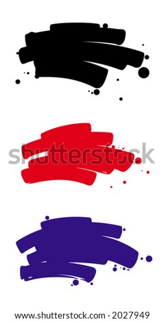 vector illustration of three colored brushstrokes - stock vector