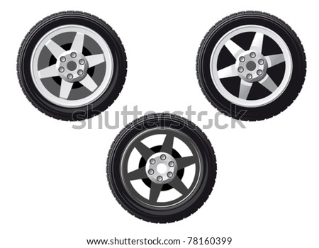 Vector illustration of three different car tyres with metal alloy hubs and rims on white. Jpeg version also available in gallery - stock vector