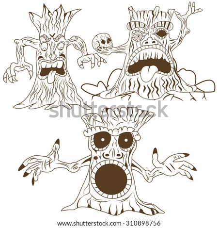 vector illustration of three different cartoon spooky trees - mono color. - stock vector