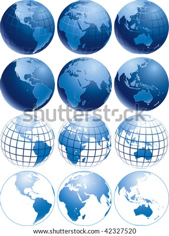 Vector illustration of three different shiny blue Earth globes with different appearance - stock vector