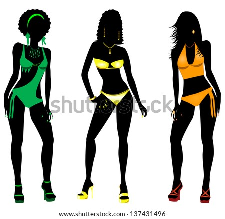 Vector Illustration of three different swimsuit silhouette women in bikini, tankini and monokini swimwear. - stock vector