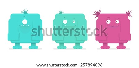 Vector illustration of three funny monsters   - stock vector