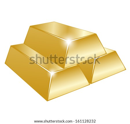Vector illustration of three gold bars on white background  - stock vector