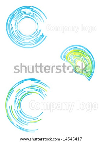 Vector illustration of three highly detailed abstract company logos. - stock vector