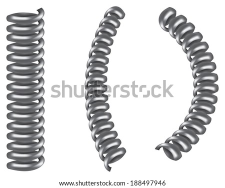 Vector illustration of three silver grey metal spiral coil - stock vector