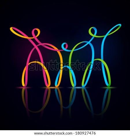 Vector illustration of three swirly figures holding hands - stock vector