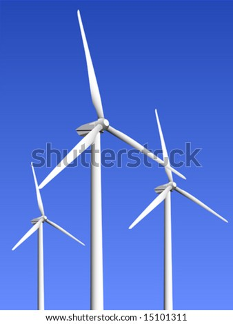 Vector illustration of three wind turbines on a blue sky background.