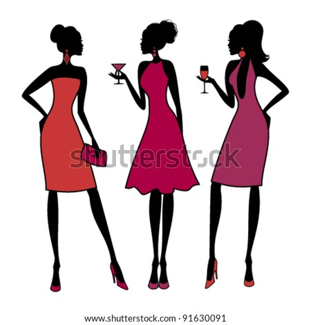 Vector illustration of three young fashionable girls at a cocktail party. Raster version available in my portfolio - stock vector