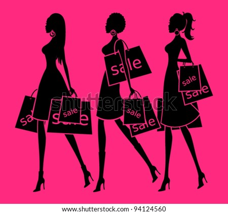 Vector illustration of three young women holding shopping bags. Background and each woman are grouped and placed on separate layers.  See my portfolio for more shopping themed images. - stock vector