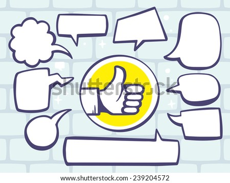 Vector illustration of thumb up with speech comics bubbles on gray brick pattern background. Line art design for web, site, advertising, banner, poster, board and print. - stock vector