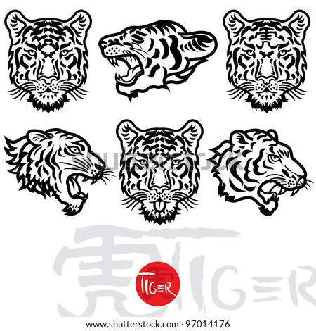 Vector illustration of tiger collection set - stock vector