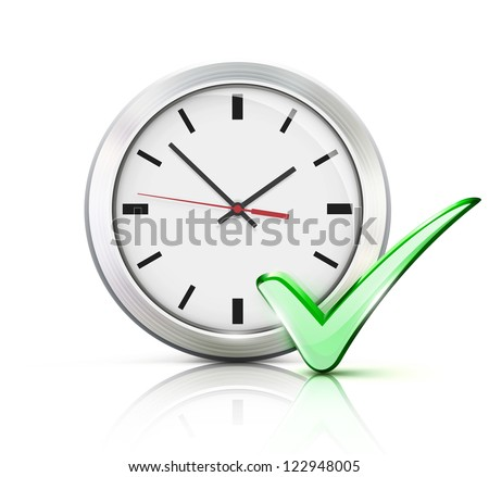 Vector illustration of timing concept with classic office clock and check mark icon isolated on white background