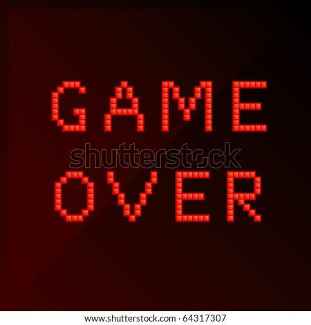 "Vector illustration of title ""game over"" in pixel art style"
