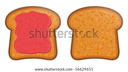 vector illustration of Toast with jam - stock vector
