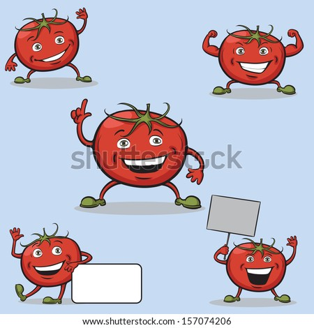 Vector illustration of Tomatoes cartoon figures. Easy-edit layered vector EPS10 file scalable to any size without quality loss. High resolution raster JPG file is included. - stock vector