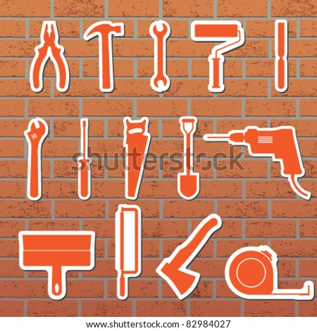 Vector illustration of tools on the wall - stock vector