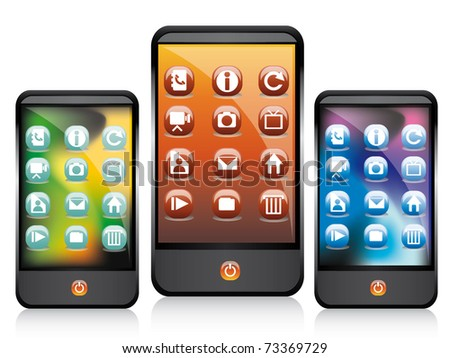 Vector illustration of touchscreen - stock vector