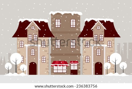 Vector Illustration of Town in Winter. Flat Design Style.